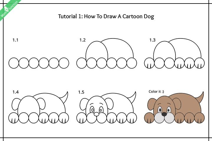 نحوه ترسیم یک سگ کارتونی