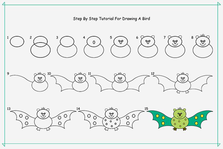 آموزش گام به گام چگونگی ترسیم پرنده برای کودک