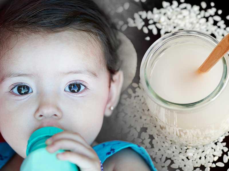 فواید سلامتی آب برنج برای نوزادان