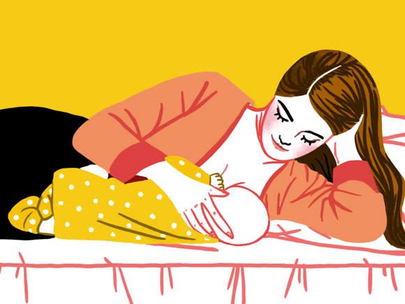 وضعیت بدنی برای شیردهی ، خوابیدن به پهلو