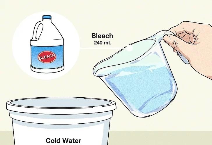ضد عفونی کردن سطوح با سفید کننده مخلوط آن با آب سرد