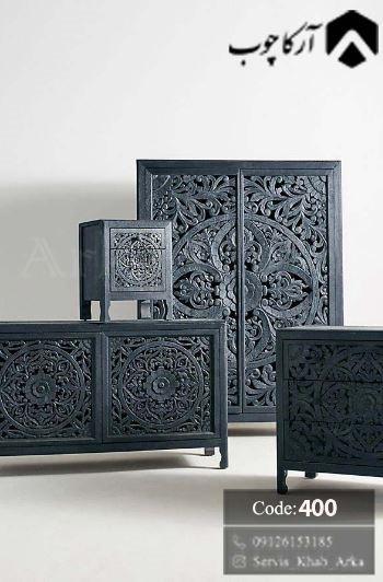 خرید سرویس خواب چوبی به سبک مراکشی